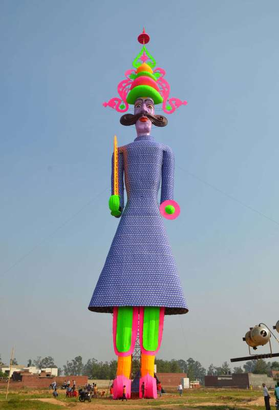 WORLD's TALLEST RAVANA: A 210-feet tall effigy of Raavana claimed to be the tallest in the world; in Barara village 60 km away from Chandigarh,