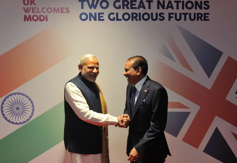 Yusuff Ali MA, Managing Director of Abu Dhabi-based Lulu Group International, with Prime Minister Narendra Modi in London