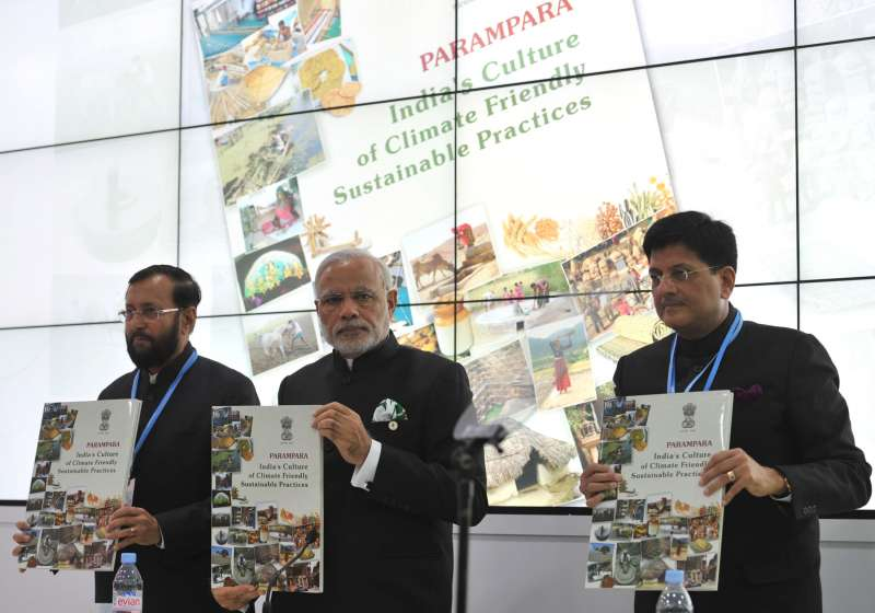 Modi releasing a book 'PARAMPARA', at the inauguration of the India Pavilion, at COP21 Summit, in Paris, France