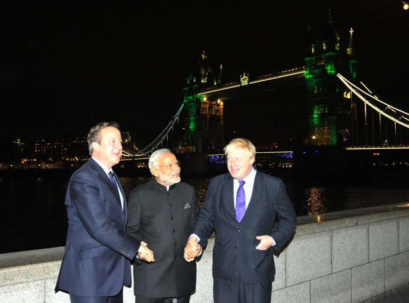 Modi with Cameroon and Boris Johnson