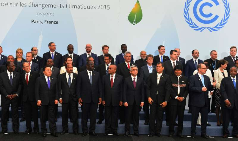 Modi with the Heads of State and Government at COP21, in Paris, France 21