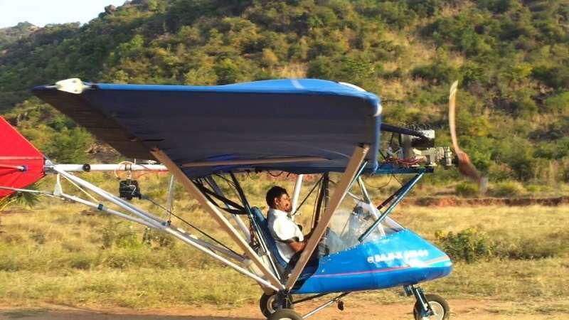 Saji Thomas and his aircraft
