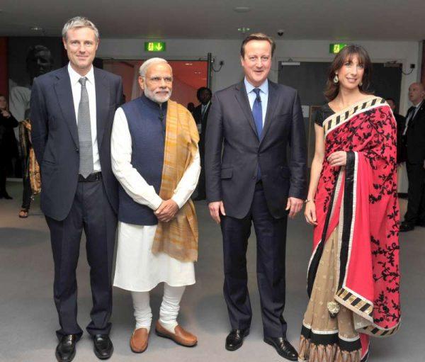 Zac Goldsmith, the Conservative candidate for London Mayor, Modi, Camerons, Samantha Cameron at Wembley