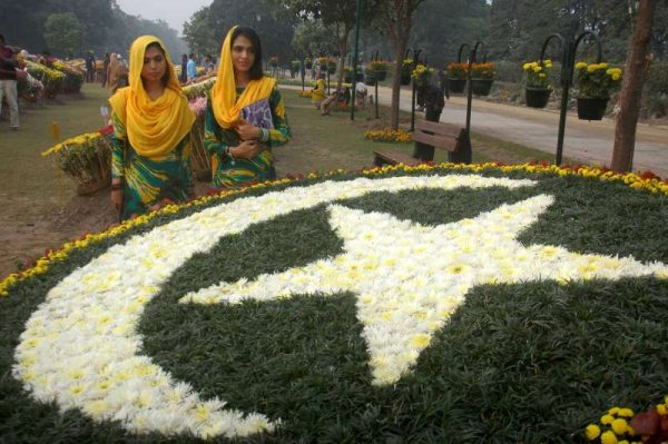 People visit the Autumn Flowers Show in eastern Pakistan's Lahore