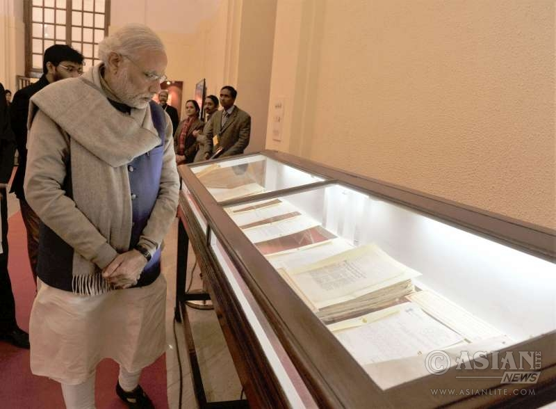 rime Minister Narendra Modi at the National Archives during the launch of the digitised files related to Netaji, in New Delhi