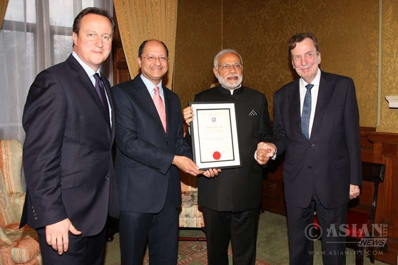 Shaileash Vara with Indian Prime Minister Modi during his visit to London inNovember