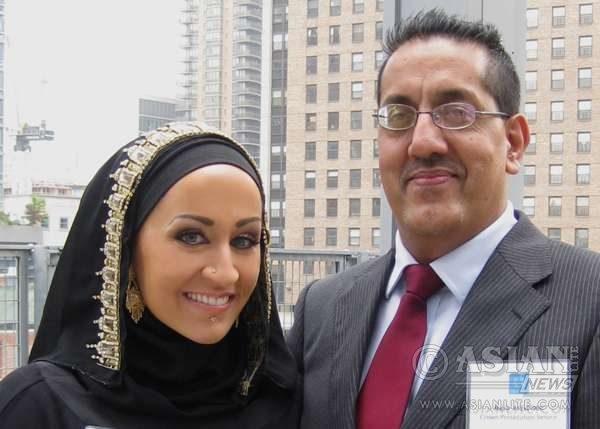 Nazir Afzal with US activist Raquel Evita Saraswati (File)