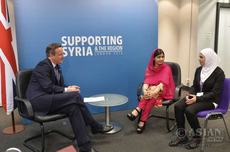 David Cameron meets with Malala Yousafzai and Muzoon Almellehan at the Supporting Syria and the region conference.