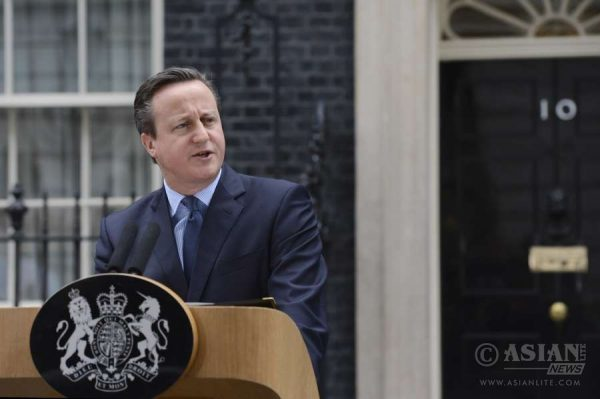 Prime Minister David Cameron speaking in front of No 10 Downing Street after the cabinet meeting