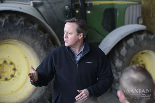 David Cameron visits Ahoghill, Ballymena for a farm visit. He held a Q&A session for farmers in a barn about the upcoming in/out EU referendum