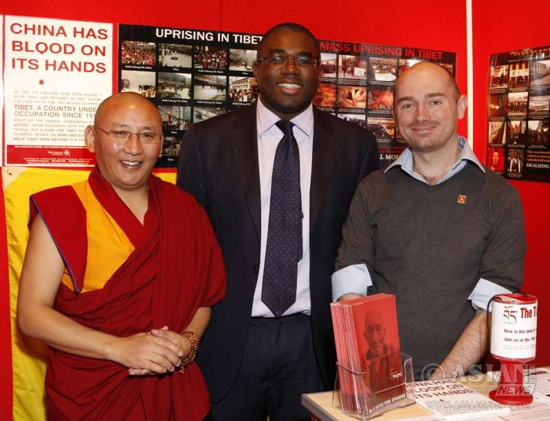 David Lammy MP at the stall of Tibet Society during the Labour Party conference (File)