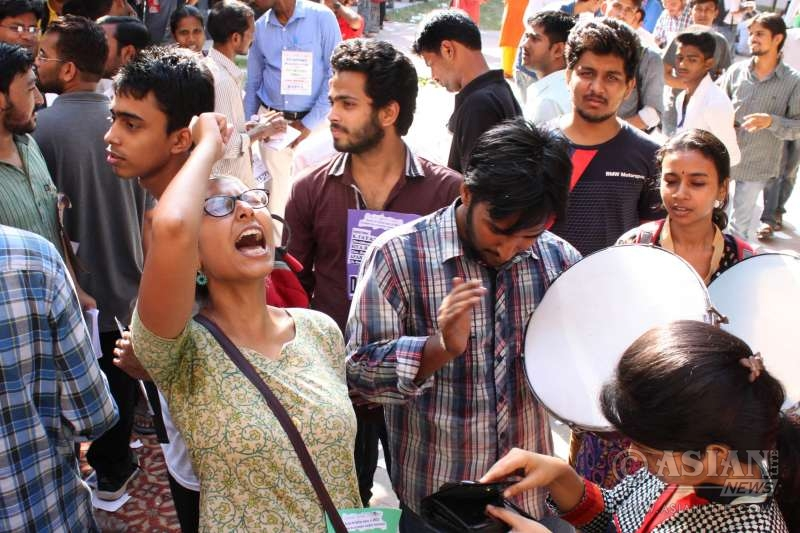 A student demonstration at JNU in New Delhi