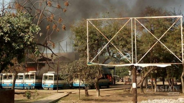 Haryana Roadways buses set on fire by protesters demanding Special Backward Class (SBC) status in Rohtak