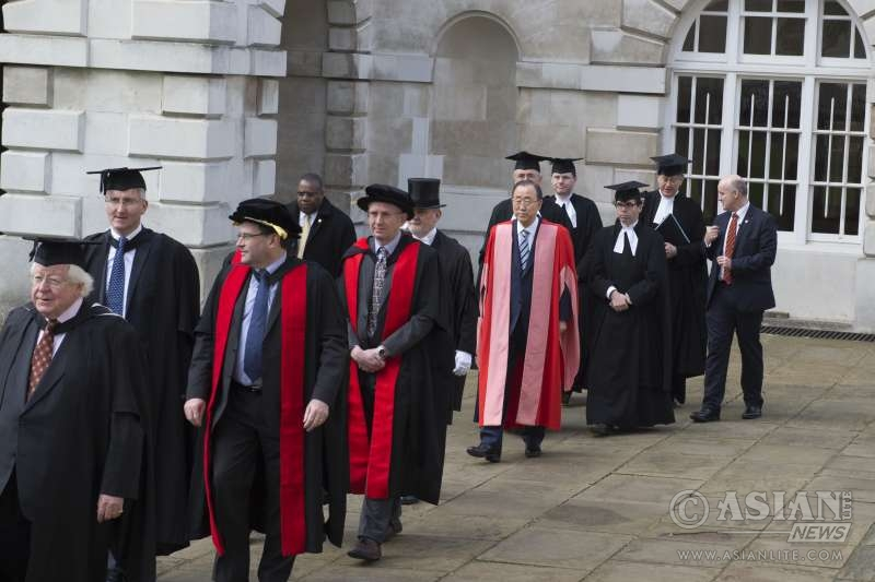 Secretary-General Ban Ki-moon received an honorary degree of Doctor of Law from the University of Cambridge in recognition of his humanitarian work, support for women's rights and achievements in pursuit of global peace and security UN PHOTO/Eskinder Debebe