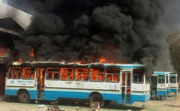 aryana Roadways buses set on fire by protesters demanding Special Backward Class (SBC) status in Rohtak