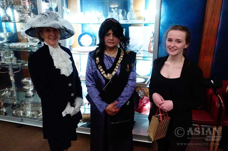 Mrs Ferdousi Shahriar, Bangladeshi Asstt High Commissioner, with Mayor of Colwyn Bay Councillor Sibani Roy with a guest