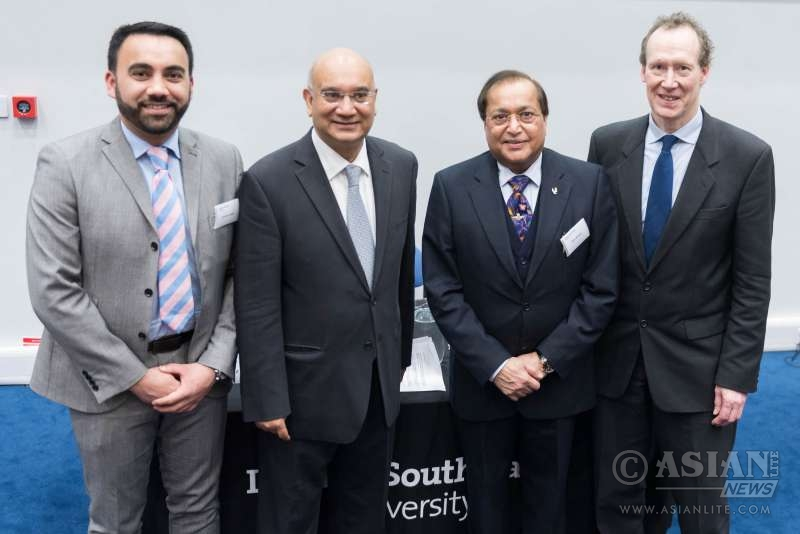 Dr Ranger, Mr Vaz with Mr Gurpreet Jagpal, Director and CEO of South Bank University Enterprise Ltd,  and Prof.  Patrick Bailey, Deputy Vice-Chancellor,