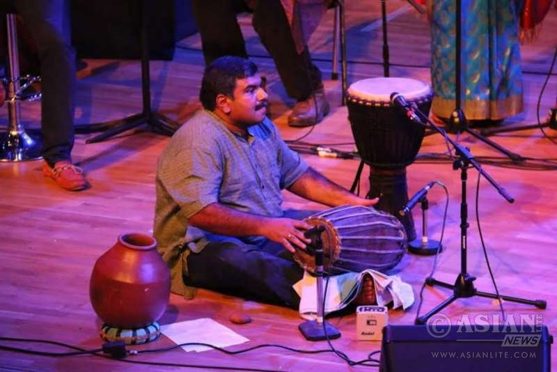 Kishore at one of his mrudangam performance