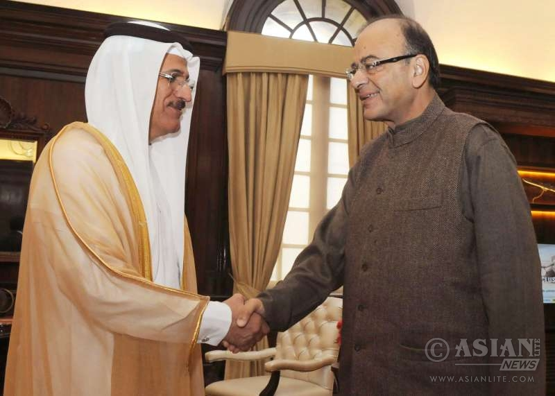 Mr. Sultan Al Mansoori, Minister of Economy, UAE,  with Indian Finance Minister Arun Jaitley in New Delhi