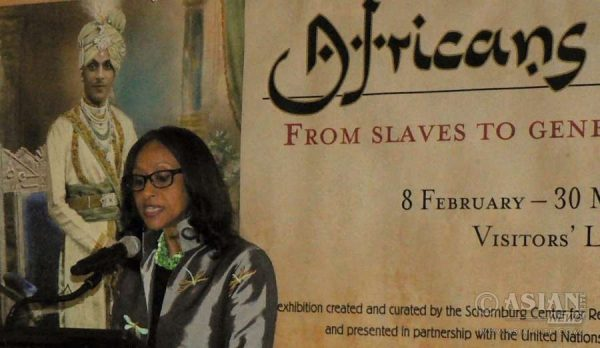 Sylviane Diouf, the curator of the Africans in India Exhibition speaks at its opening at the UN. She said India was the only society where African slaves could rise to positions of influence and power.