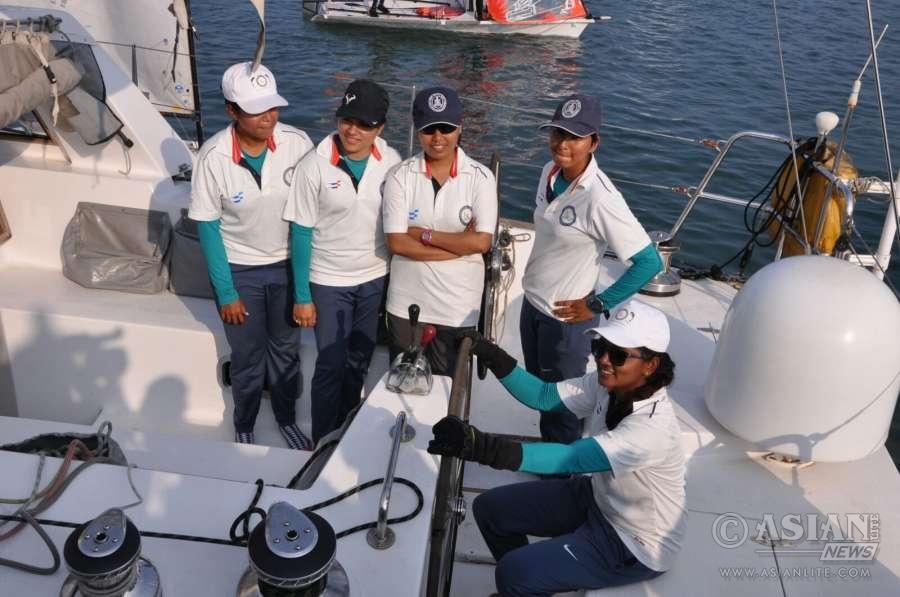 THe all women crew on board INSV Mhadei