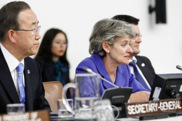 UNESCO Director-General Irena Bokova of Bulgaria is considered a front-runner in the race to succeed Ban Ki-moon, left, as United Nations Secretary-General.