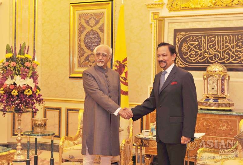 Vice President  M. Hamid Ansari calling on His Majesty Sultan Haji Hassanal Bolkiah Muizzaddin Waddaulah Sultan of Brunei, in Brunei