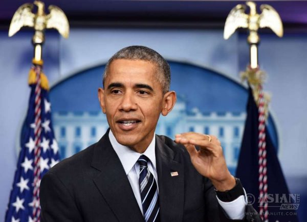 U.S. President Barack Obama speaks about the economy during a news conference in the Brady Press Briefing Room of the White House in Washington D.C., the United States