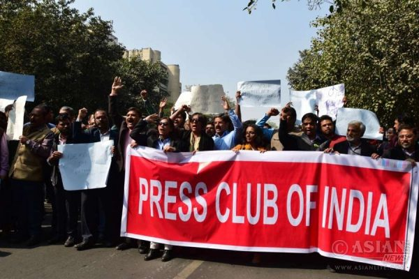 Indian journalists protest against the attack on their colleagues at Patiala Court in New Delhi