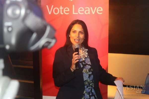 Priti Patel MP, Indian Diaspora Champion and Minister for works and pensions, is a prominent figure in the Brexit camp