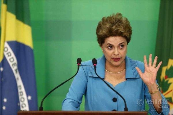 President Dilma Rousseff making a statement at the Planalto Palace in Brasilia, Brazil, on April 18, 2016. The Brazilian Chamber of Deputies, or the lower house of parliament, voted in favor of impeaching President Dilma Rousseff on Sunday.