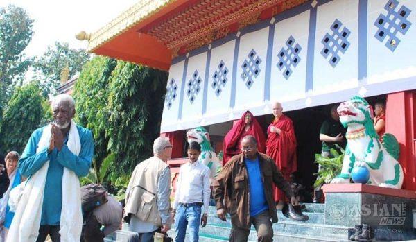 Hollywood Actor Morgan Freeman arrives at Sarnath Buddhist monasteries near Varanasi