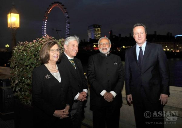 Speaker John Bercow with Modi and Cameron