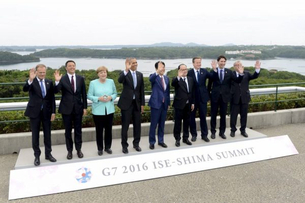 Prime Minister David Cameron with other world leaders for the G7 Summit.   The G7 leaders are joined by Donald Tusk President of the European Council and Jean-Claude Juncker President of the European Commission for the traditional 'family' photograph.   Photo: Crown Copyright Credit: Georgina Coupe