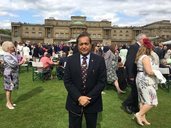 TEA AT PALACE: Six-time Queen's award winner Dr Rami Ranger CBE at the garden party at Buckingham Palace