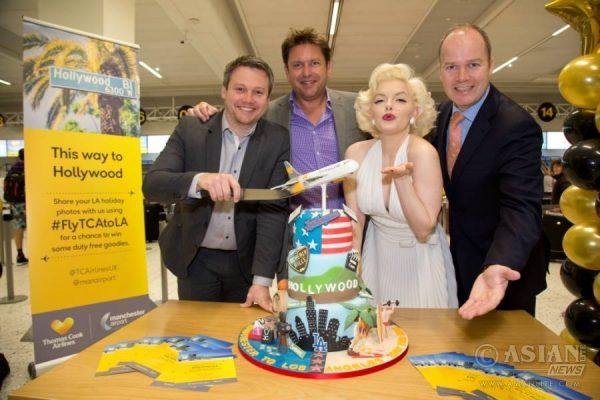 L-R Ben Todd Thomas Cook, James Martin, Marilyn Monroe, Patrick Alexander_ Manchester Airport