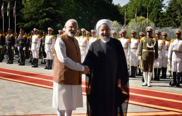 Modi with the President of Iran, Mr. Hassan Rouhani, at the Ceremonial Welcome, at Saadabad Palace, in Tehran