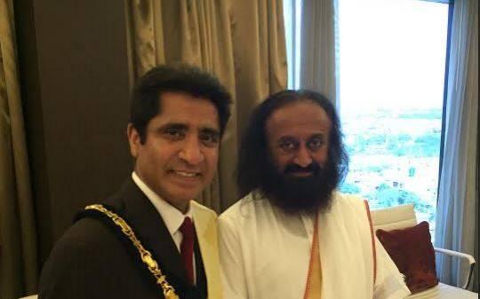 The Mayor of Harrow with Founder of Art of Living Foundation, Sri Sri Ravi Shankar