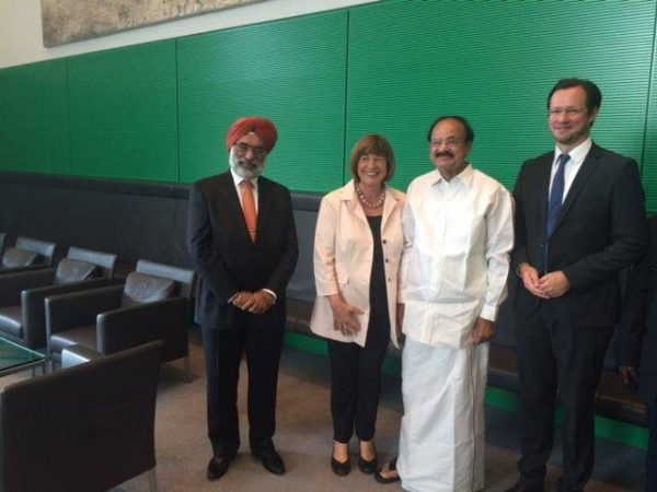 Naidu with Mrs Ulla Schmidt, Vice President of German Parliament and Mr Dirk Wiese, SPD MP and Member of Germany-India Parliamentary Group at the historic Reichstag Building