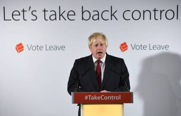 Brexit campaigner Boris Johnson addressing the media yesterday