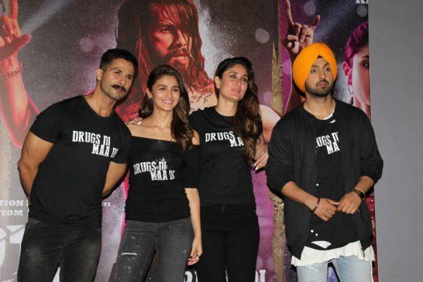 Actors Shahid Kapoor, Alia Bhatt, Kareena Kapoor and Punjabi singer and actor Diljit Dosanjh during the trailer launch of film Udta Punjab in Mumbai