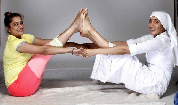 Actress Sofia Hayat now nun Gaia Mother Sofia performs yoga to celebrate the 2nd International Yoga Day, in Mumbai