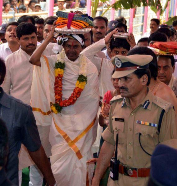 Telangana Chief Minister K Chandrasekhar Rao aka KCR during his visit to Sree Seetha Ramachandra Swamy shrine at Bhadrachalam in Khammam District of Telangana (File)