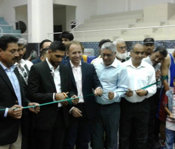 British High Commissioner Thomas Drew  with Amir Khan opening the Amir Khan Boxing Academy in Islamabad