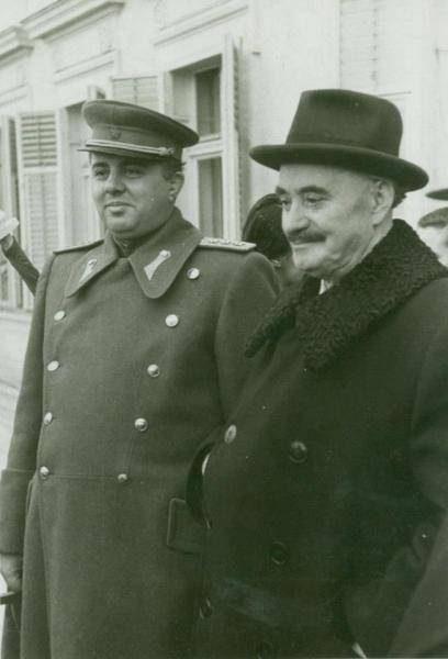 Bulgarian leader Georgi Dimitov (right) with Albania's Enver Hoxha