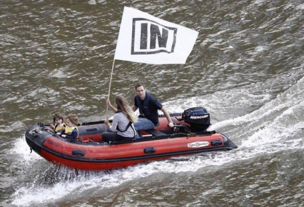 Jo Cox and her husband along with their two children challenging the Brexit flotilla