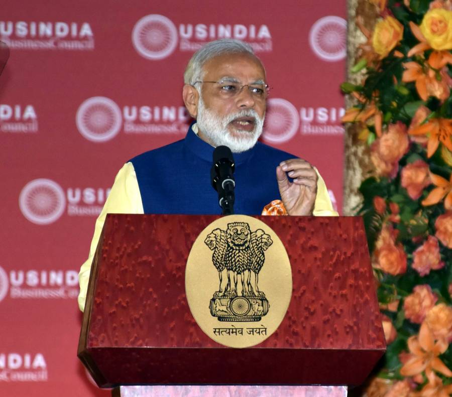 Modi addressing at the 40th AGM of USIBC, in Washington DC, USA (File)