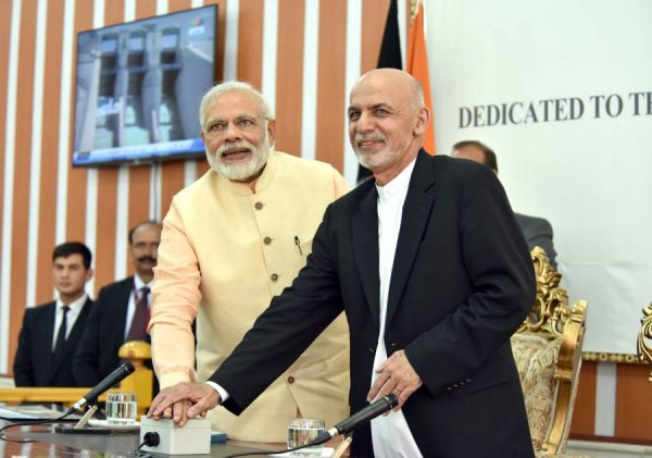 Modi and the President of the Islamic Republic of Afghanistan, Mr. Mohammad Ashraf Ghani jointly inaugurating the Afghan-India Friendship Dam (Salma Dam), in Herat, Afghanistan