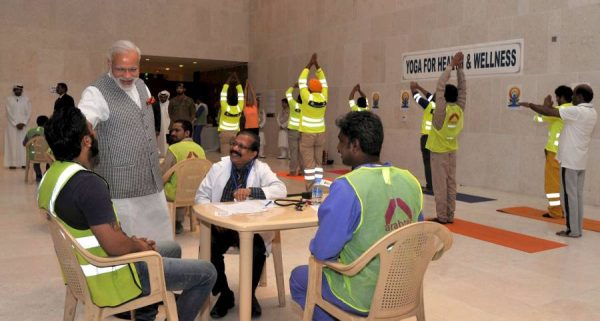 Modi at Workers' Medical Camp, in Mesheireb, Downtown, Doha  4