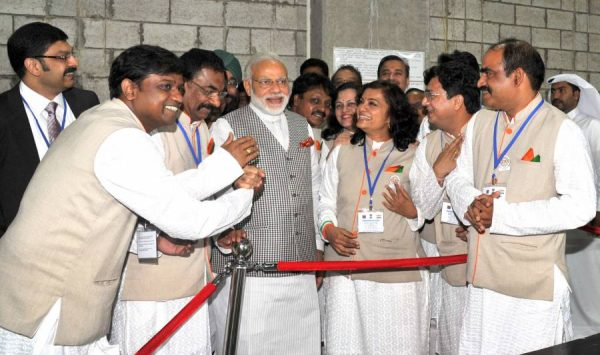 Modi at Workers' Medical Camp, in Mesheireb, Downtown, Doha